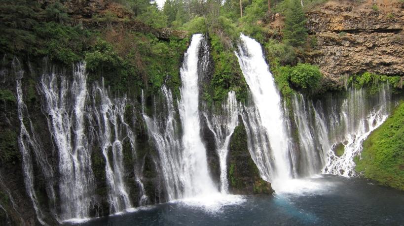 Water descends 129ft at Burney Falls.