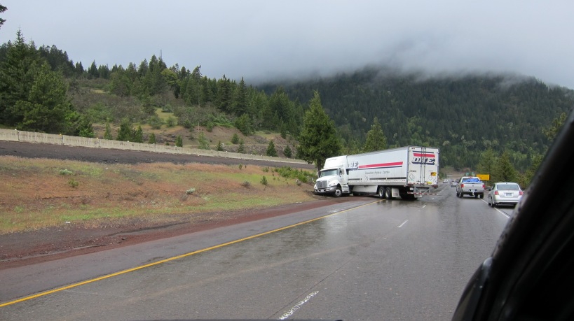 Jackknifed truck outside of Ashland, OR