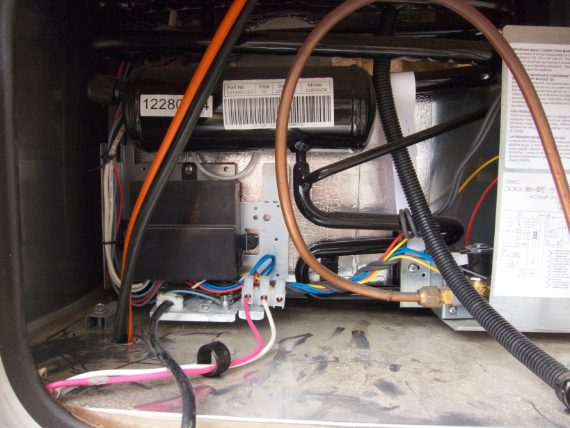 6/2 wire down the refrigerator vent;  will be routed forward to the battery box.