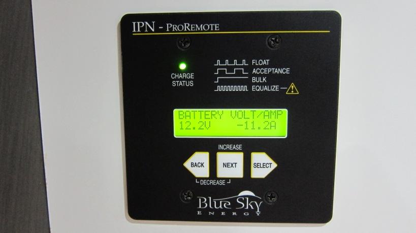 Remote monitor panel displaying battery usage details