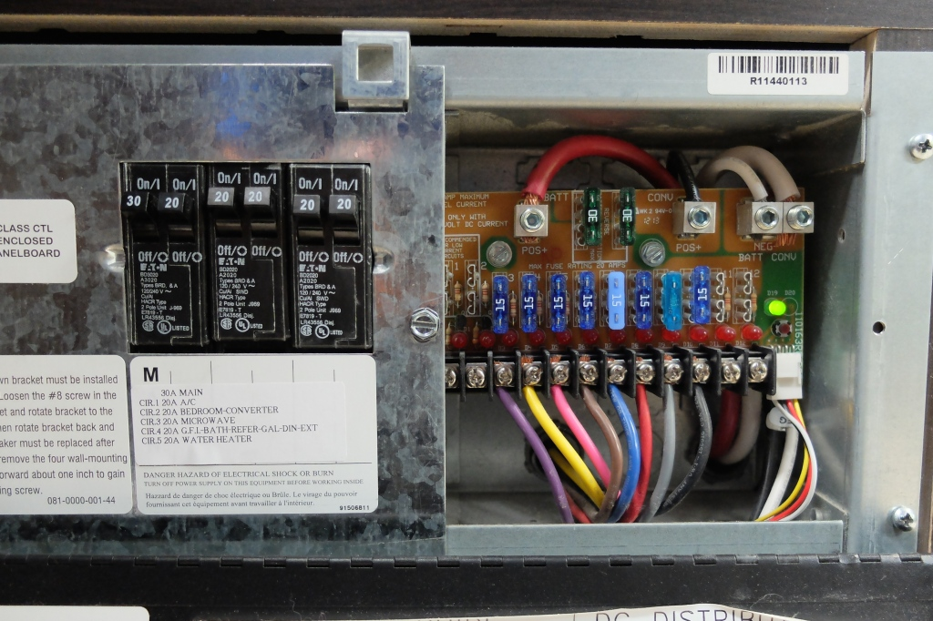 Circuit breakers for the AC and fuses for the DC
