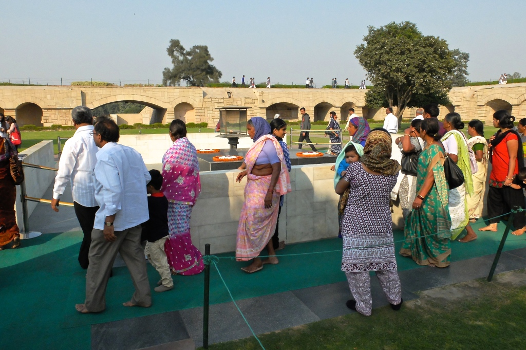 Vistors paying their respects at the memorial